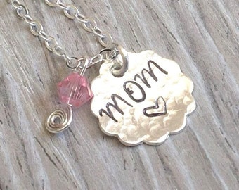 Mom, Personalized Name Jewelery, Sterling Silver Handstamped Hammered, Swarovski Crystal Charm Necklace