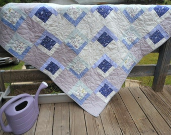Fairies and Flowers Quilt, Fairy Quilt, Purple Quilt, Aqua Quilt, Taupe Quilt, Flower Quilt