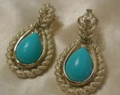 Avon Blue Teardrop Silver and Turquoise Colored Clip Earrings