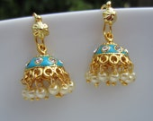 Turquoise Jhumkas with Pearls, Meenakari Jumkas, Casual Wear, Indian Jewellery, Small Jumkis, Blue Chandeliers