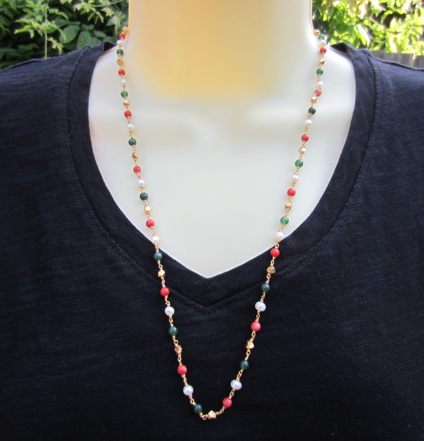Pearls Red Corals and Jade Necklace One gram Gold Jewelry