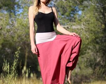 Pregnancy Maternity pants  with comfy wide stretchy waist, Crimson Women harem pants, Plus size harem pants, Cotton skirt, Sarouel femme
