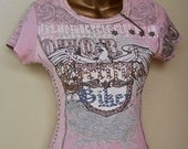 Womens Motorcycle T-Shirt Pink Dusty Rose Studded Certified Biker Zipper Neck Vintage Fitted Short Sleeves Extra Small to Medium