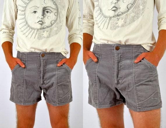 70s Classics High Waisted Mens Grey Corduroy Shorts