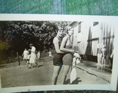 Vintage Snapshot Photo - Girl Friends Wear Bathing Suits