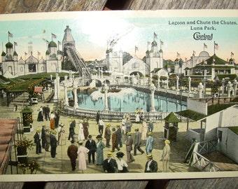 Vintage Victorian Colorized Postcard - Luna Park Cleveland OH