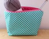 Large Green Polka Dot Knitting Bag,Knitting Project Bag,Crochet Bag, Crochet Project Bag, Makeup Bag, Cosmetic Bag, Travel Bag, Zipper Pouch