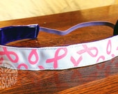 NOODLE HUGGER Non slip ribbon headband - breast cancer awareness ribbons - 7/8 inch (running, working out, everyday: women and girls)