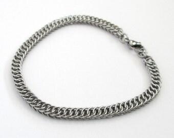 Stainless steel chain bracelet, chainmail Half Persian 4 in 1 weave bracelet for women or men, steel jewelry