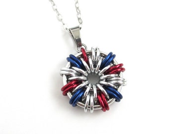 USA patriotic jewelry, red, white and blue necklace, chainmail pendant