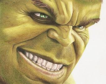 Art Print, 8x10 The Hulk colored pencil grin