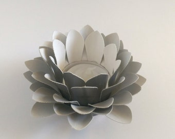 Wedding Centerpiece - Paper Flower Decor - Tealight holder - Handmade Paper Lotus - Metallic Grey - Waterlily - 3d Paper Art - Kids Room