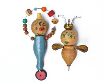 ON HOLD..........Juggling Clown,Queen Bee ornament, mixed media assemblage art doll, original ornament by Elizabeth Rosen