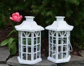 Shabby Chic Lanterns / White Distressed Candle Pair / Wedding Decor / Patio Lighting