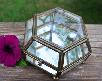 Vintage Glass & Brass Hexagon Box / Etched Glass Box