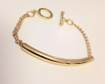 SALE Gold Tube Bracelet