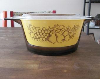 Vintage Pyrex Old Orchard Pattern Cinderella Casserole Baking Dish 2.5 Qt. W/ Carrier & Lid MINT