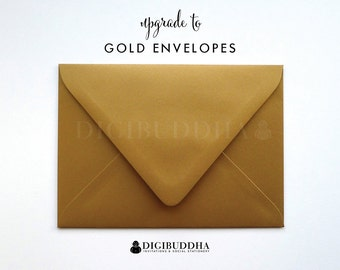 Upgrade to GOLD ENVELOPES Metallic Shimmer Add-On for any digibuddha Invitations or Thank You Cards. Wedding Bridal Shower Baby Shower
