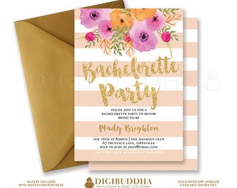 BACHELORETTE PARTY INVITATION Peach Stripes Bridal Shower Invites Gold Glitter Flower Wedding Hens Free Shipping or DiY Printable- Mady