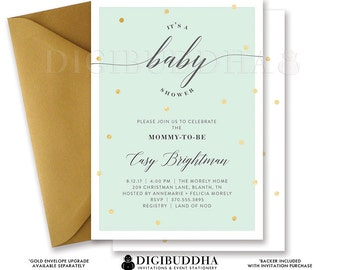 BABY SHOWER INVITATION Gender Neutral Elegant Mint + Gold Dots Printable Baby Shower Invite Confetti Sparkle Free Shipping or DiY- Casy