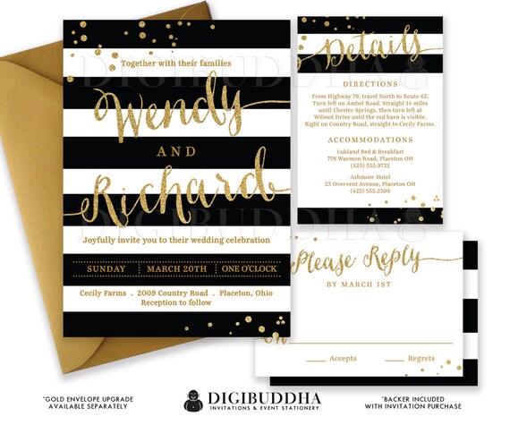 BLACK & WHITE WEDDING Invitation Gold Glitter Confetti 3 Pc Suite RSvP Enclosure Card Stripe Invite Free Shipping or DiY Printable- Wendy