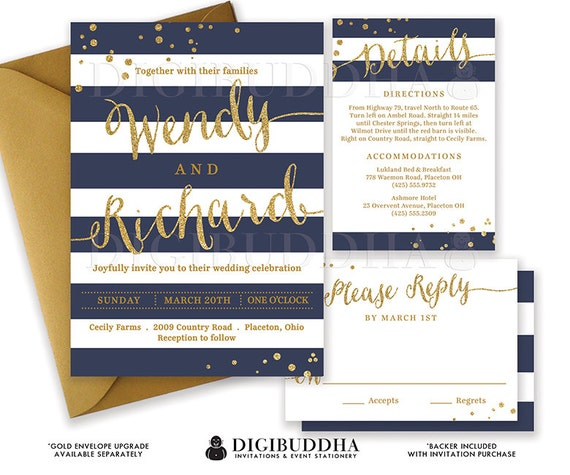 NAVY & GOLD WEDDING Invitation Glitter Confetti 3 Pc Suite RSvP Enclosure Card Navy Blue Stripe Invite Free Shipping or DiY Printable- Wendy