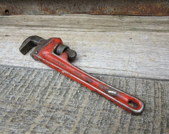 Large Vintage Pipe Wrench Dark Aged Pataina Red Paint Industrial Plumbing Blue Collar Made in USA RIGID 10 Inch Industrial Tool Decor vtg
