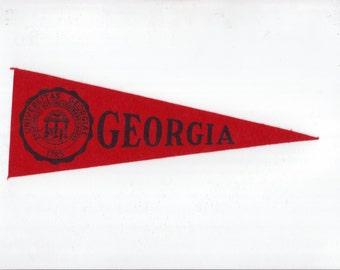 Vintage College Pennant GEORGIA University Red Small MINI Felt School Pennant Flag 1940s-1960s Dorm Collectible Sports Decor Man Cave