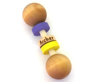 Personalized Toy - Wooden Baby Rattle - Waldorf Toy - New Mother Gift - Choose Colors