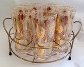 Vintage 1960s Royal Gold and Ivory Queens Cameo Tumblers Set of 7 with Carriers