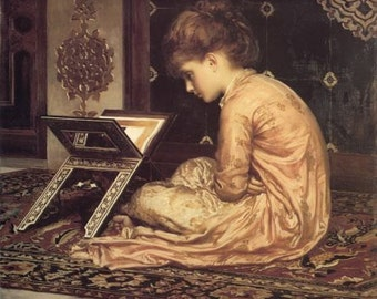 Home Decor Prnt Girl on Floor with Book Stand Print by Lord Frederick Leighton