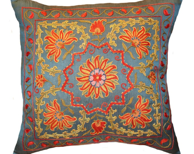 Sale! Handmade Suzani Silk Pillow Cover EMP703b, Suzani Pillow, Uzbek Suzani, Suzani Throw, Suzani, Decorative pillows, Accent pillows