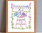 MR & MRS Personalised Wedding Lovebirds Gift Print