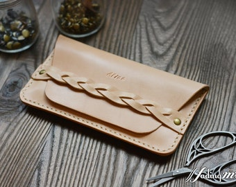 Leather Personalized Phone Case with Braided Strap