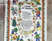 Linen Cotton Tea towel, Recipe for Happiness, printed kitchen towel, crisp, Canada, fswp