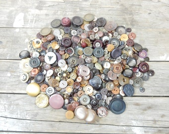 Button Lot 1.5 lbs of Beige, Brown and Tan buttons, Plastic