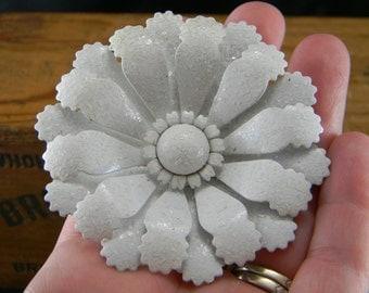 Vintage Metal Flower Brooch White