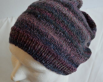 Slouchy Beanie,  Unisex, Slouch Hat, Dreadlock Rasta Tam, Purple, Light Weight Wool Beanie, Slouchy Tam