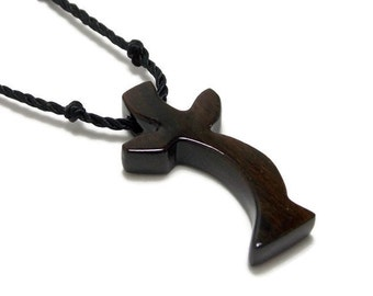 Mens Cross Pendant Necklace, Mens Jewelry Cross, Men's Cross Necklace, Religious Pendant, Wood Cross Pendant, Ebony Cross, Jewelry for Men