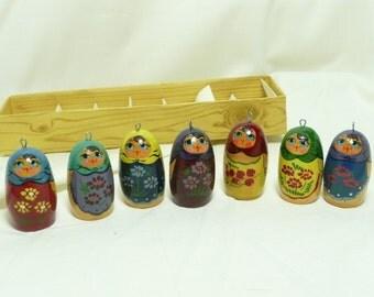 Vintage Russian Hand Painted Matreshka Doll Christmas Ornaments, set E