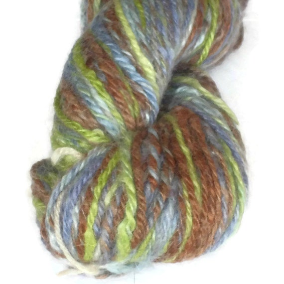 Cozy Self - Striping  Hand Dyed and Hand Spun Yarn in Wool and Mohair - Worsted Weight - Navaho Plyed Worsted Yarn - Blue - Green - Brown