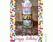 Cheers to 50 years beer glass - 26oz -birthday - milestone - 50th birthday - beer glass - customizable