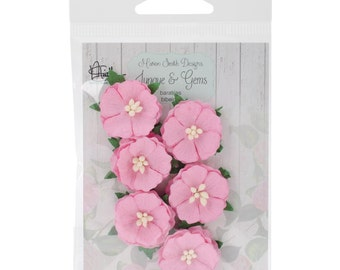 """Tiny Pink Paper Flowers; Set of 6, 1"""" diameter -by Marion Smith of Junque & Gems"""