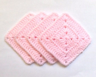 Crochet Square Coasters Handmade Pink