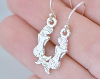 Sterling Silver Mermaid Earrings - Mermaid Jewelry - Silver Mermaid Dangle Earrings - Nautical Jewelry - Mermiad Dangles