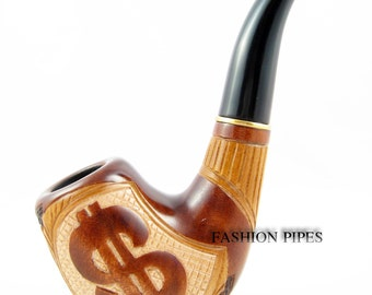"Tobacco Pipe ""DOLLAR"" Carving Handmade. EXCLUSIVE Design Smoking Pipe/Pipes-Wooden Pipe/Pipes-Wood Pipe, Limited Tobacciana pipe"