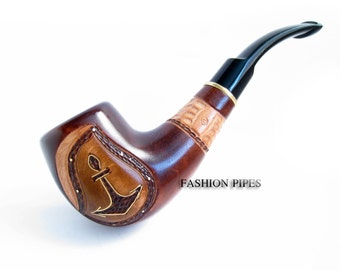 "Pipe Handcrafted, Hard carved Pipe Wooden pipe Tobacco Pipe Best Smoking Pipe/Pipes, Wood Pipes ""ANCHOR INLAID"", BEST Offer......Plus Gift"