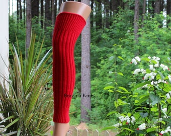 Adult Leg Warmers Red Sweater Knit