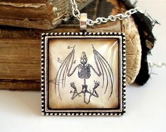 Bat Necklace - Anatomical Bat Skeleton Pendant in Silver