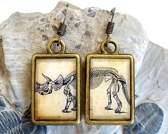 Dinosaur Earrings - Triceratops - DOUBLE-SIDED Dino Dangle in Brass